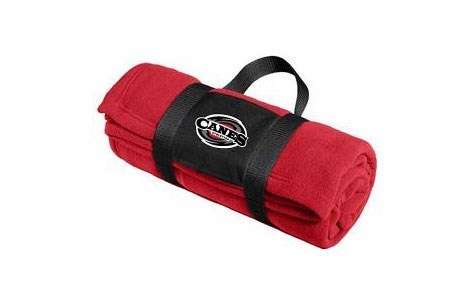 Fleece Blanket w/ Carry Strap - Black, Iron Gray, or Red (Embroidered Logo)