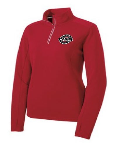 Women's Textured 1/4 -Zip Pullover - Black or Deep Red (Embroidered Logo)